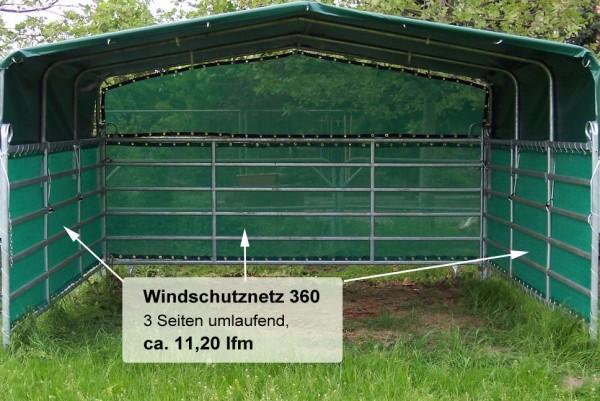 Weideunterstand 360, Weidezelt mit Windschutznetz 3-seitig