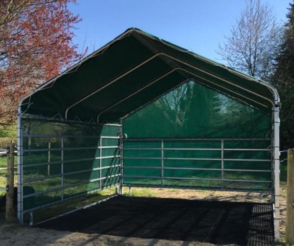XL Weideunterstand 4x4m, komplett, Dachplane, Panels+ Windschutz